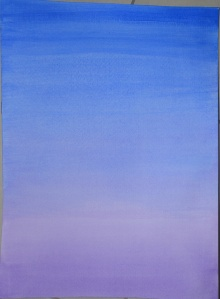 1 - Wet Blue Ultramarine over a  dry violet wash