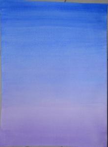 1 - Wet Blue Ultramarine over a  dry violet wash
