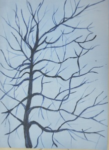 2 - Dark Branches over ight Grey Ground