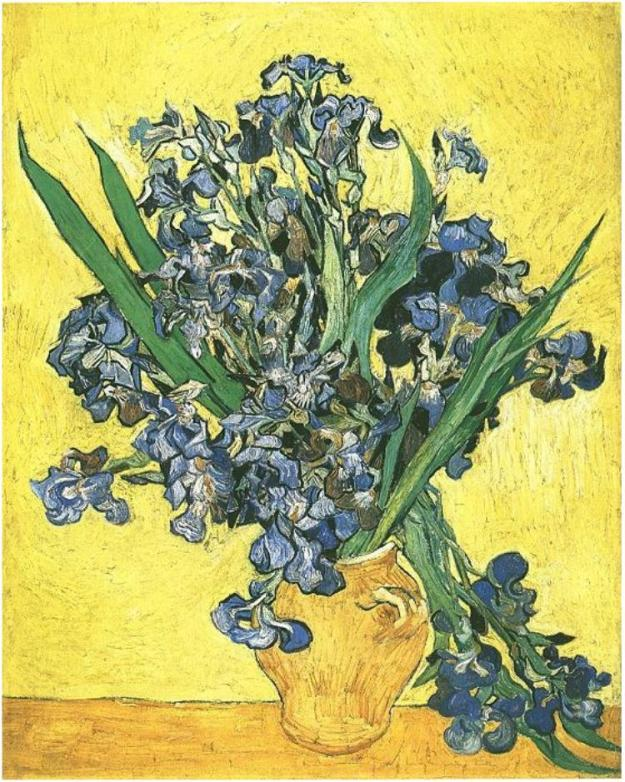 Vincent van Gogh, Vase with Irises against a Yellow background