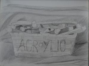 4 Fourth Sketch Acrylics in Wicker Basket