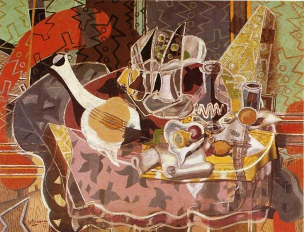 Still Life with Music Scroll - Georges Braque