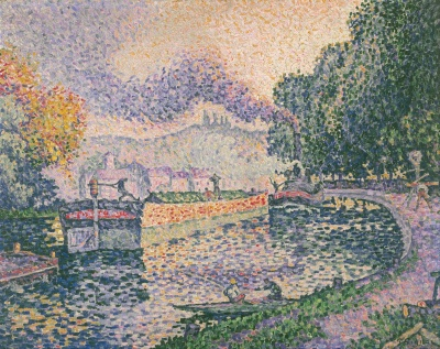 Paul Signac - The Tugboat Canal in Samois
