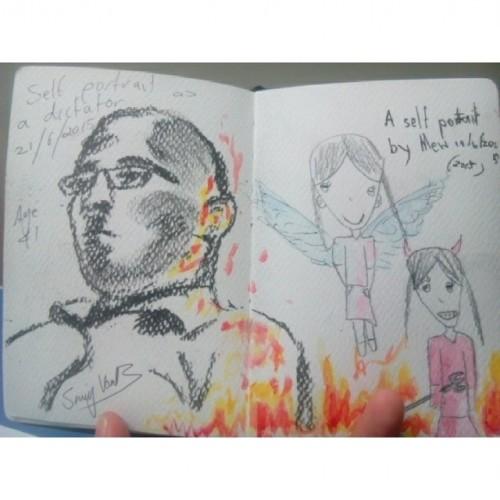 self portrait on kids drawing 2