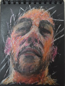 5 Oil Pastel on Black Pad