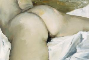 nude on white linen Gillian Carnegie, 2002
