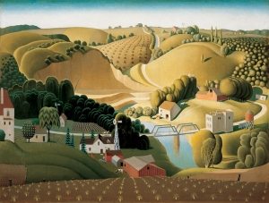 Stone City, Iowa , 1930 oil on wood panel