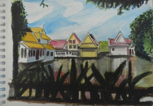 Wat Debsirin Lake in Wc, Pastel and Pen