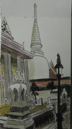 2 Wat Makut Temple - Watercolour and Pen