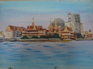 Acryic Sketch of Temple and River
