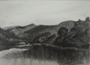 Charcoal Study of a lake