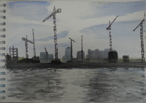 Watercolour Cranes on the Chaophraya